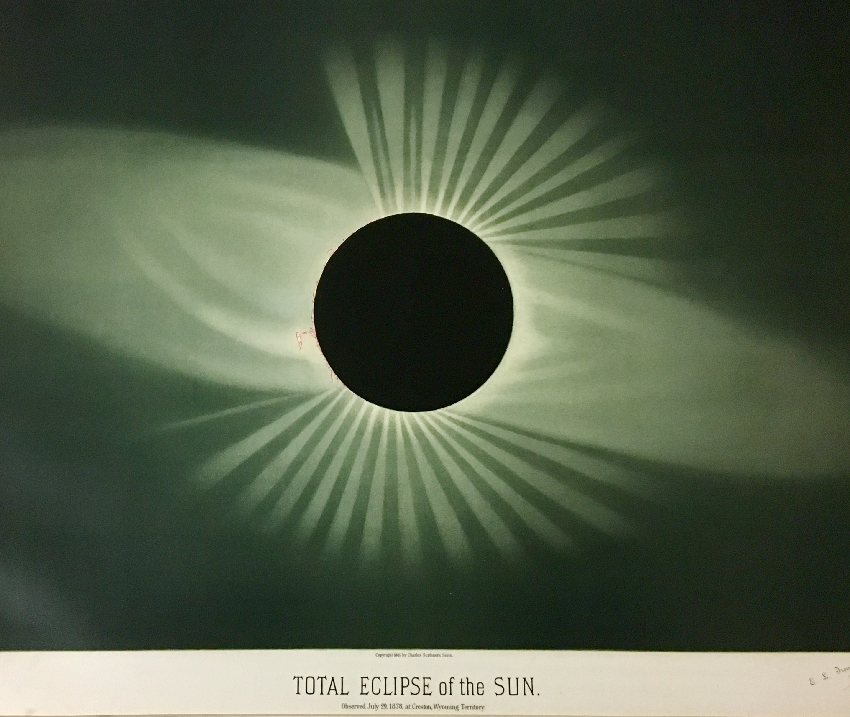 Total Eclipse of the Sun July 29, 1878. Chromolithograph, EL Trouvelot.