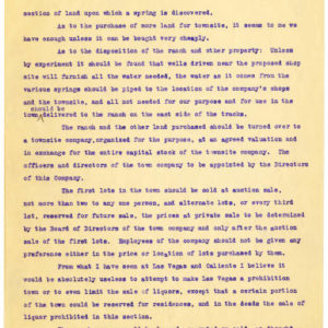 Letter - Early Las Vegas: H. I. Bettis to J. Ross Clark p 8. UNLV Libraries Special Collections & Archives.