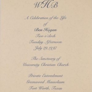 Ben Hogan's Celebration of Life Invitation