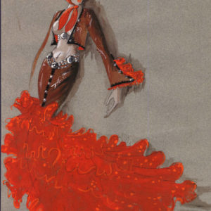 Artistic rendering of a flamenco style costume by Josephine Spinedi for Las Vegas show in the 60s